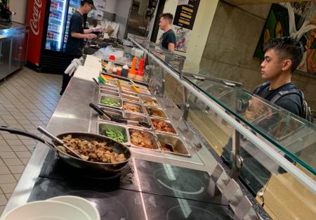 High Volume Poke Ramen shop on food court Campus at SF State